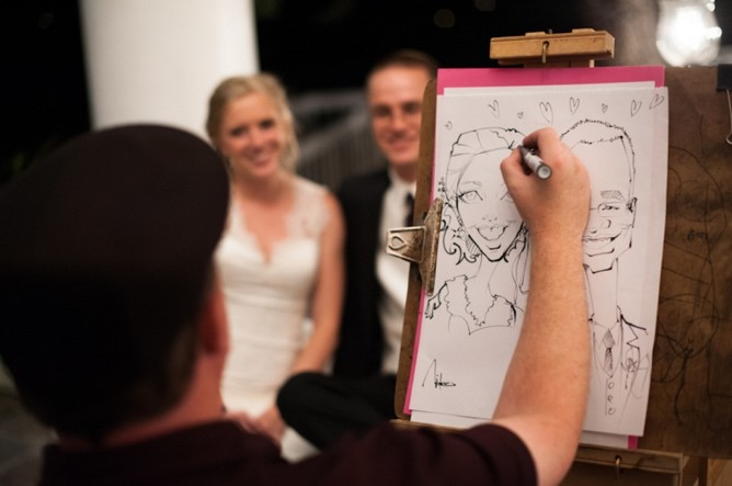 Artist drawing wedding couple