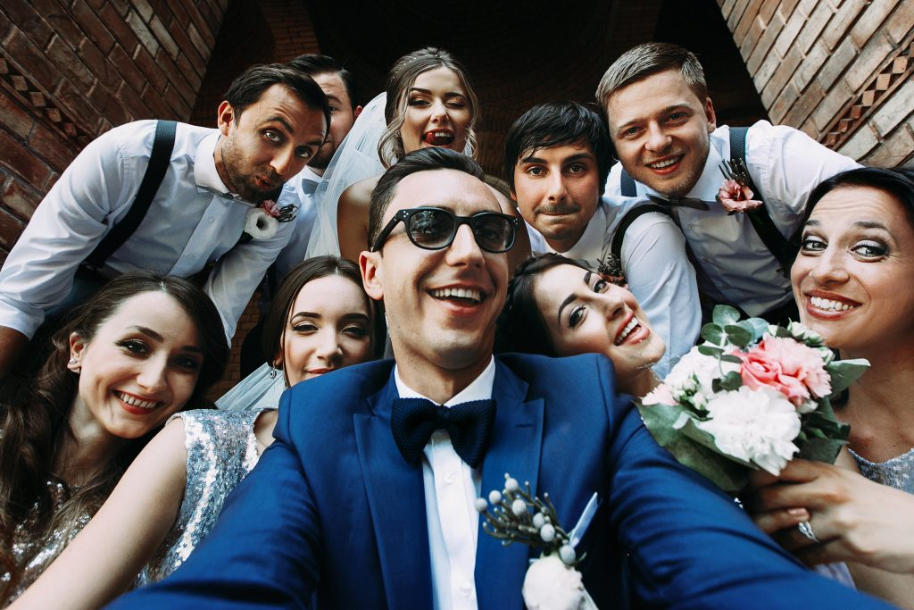 Group taking a selfie