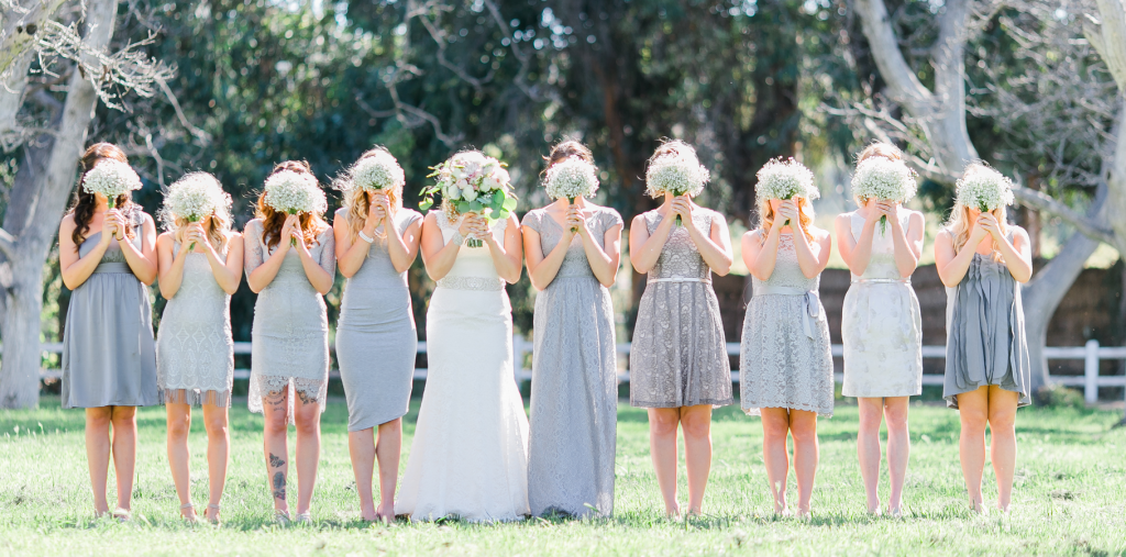 Bridal party with different dresses